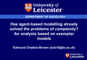 Has agent-based modelling already solved the problems of complexity? models