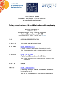 Policy, Applications, Mixed-Methods and Complexity  ESRC Seminar Series:
