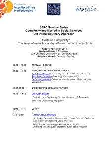 ESRC Seminar Series: Complexity and Method in Social Sciences: An Interdisciplinary Approach