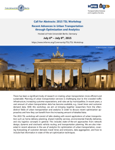 Call for Abstracts: 2015 TSL Workshop Recent Advances in Urban Transportation