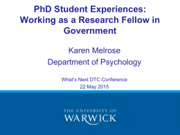 PhD Student Experiences: Working as a Research Fellow in Government