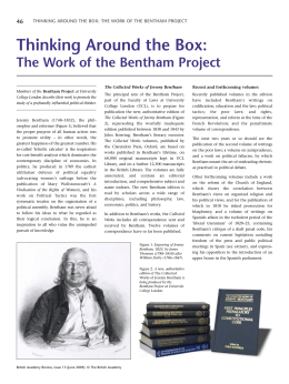 46 THINKING AROUND THE BOX: THE WORK OF THE BENTHAM PROJECT