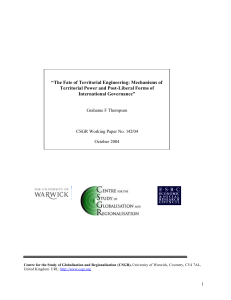 """The Fate of Territorial Engineering: Mechanisms of International Governance"""