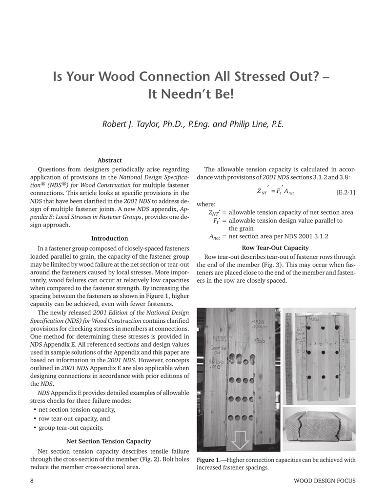 Is Your Wood Connection All Stressed Out? – It Needn't Be!