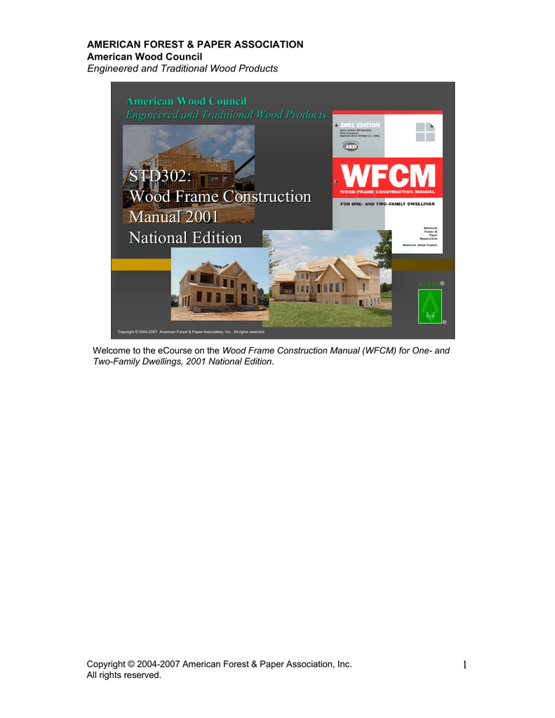national forest products manual of house framing