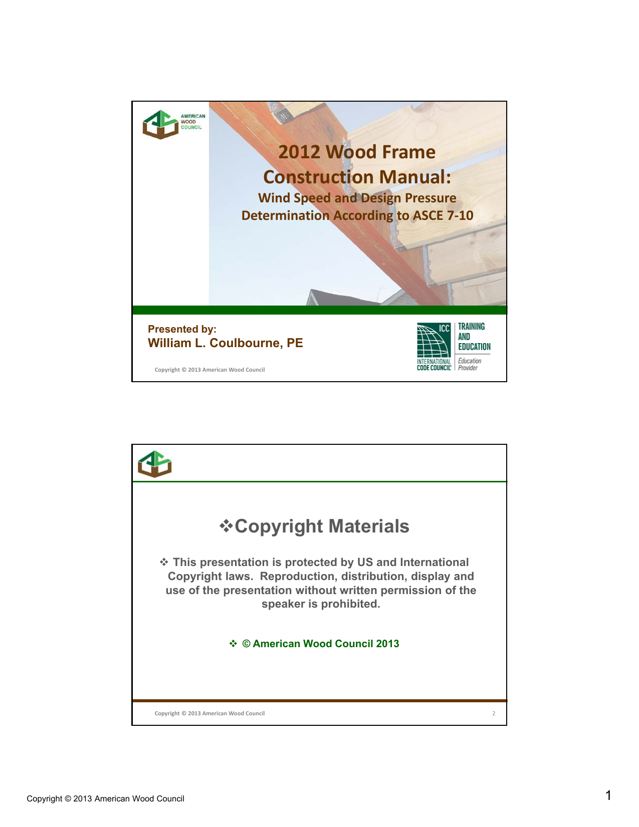 2012 Wood Frame Construction Manual: Copyright Materials Wind Speed and  Design Pressure