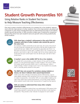Student Growth Percentiles 101 Using Relative Ranks in Student Test Scores EDUCATION