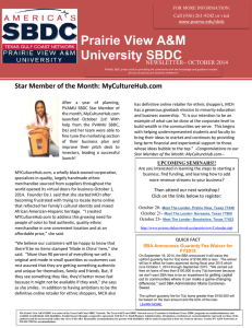 Prairie View A&M University SBDC  Star Member of the Month: MyCultureHub.com