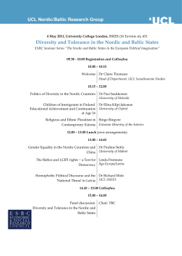 Diversity and Tolerance in the Nordic and Baltic States