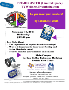PRE-REGISTER (Limited Space)! TYWellness.Eventbrite.com Do you know your numbers?