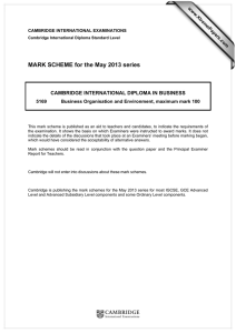 MARK SCHEME for the May 2013 series  www.XtremePapers.com