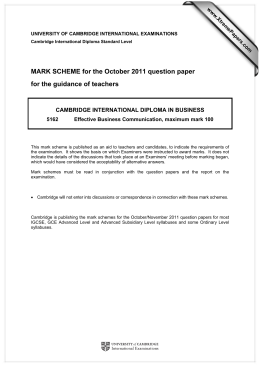 MARK SCHEME for the October 2011 question paper