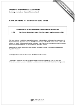 MARK SCHEME for the October 2012 series  www.XtremePapers.com