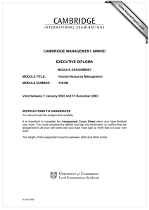 CAMBRIDGE MANAGEMENT AWARD EXECUTIVE DIPLOMA www.XtremePapers.com