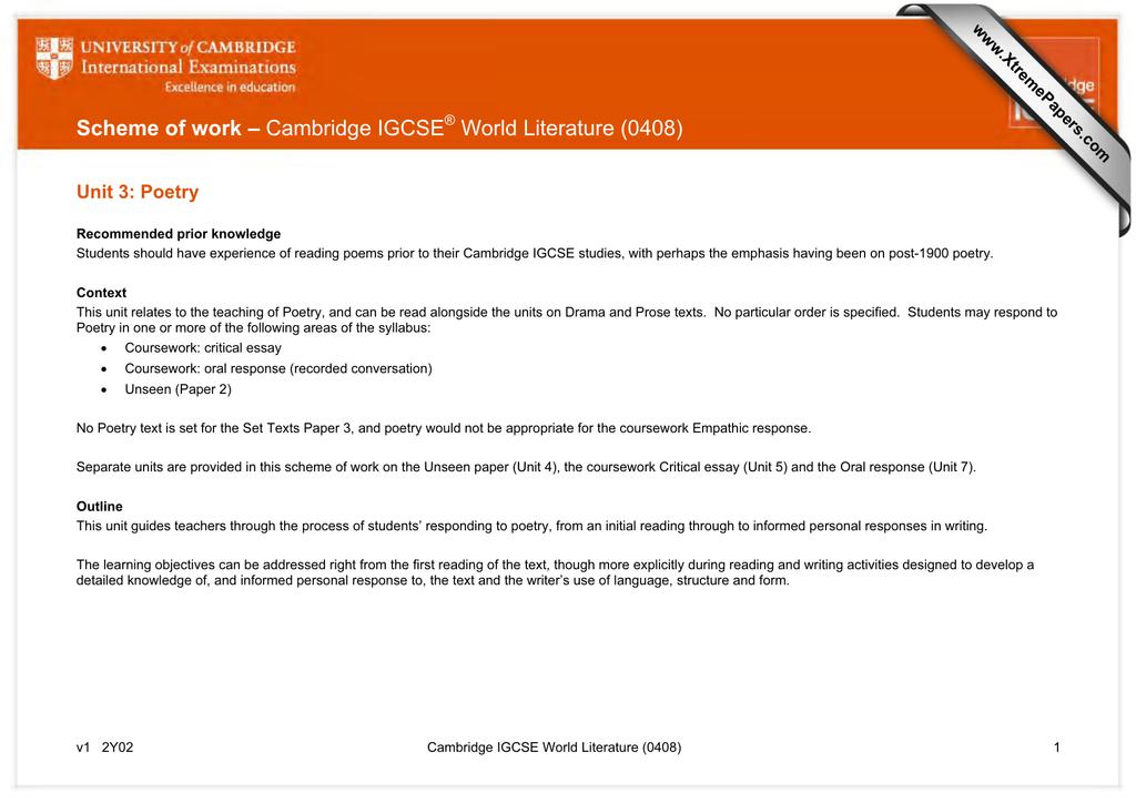 scheme of work cambridge igcse world literature unit  scheme of work cambridge igcse world literature 0408 unit 3 poetry