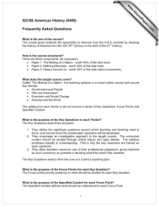 IGCSE American History (0409)  Frequently Asked Questions www.XtremePapers.com