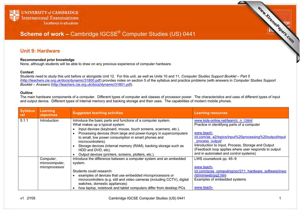 Scheme of work – Cambridge IGCSE Computer Studies (US) 0441 www
