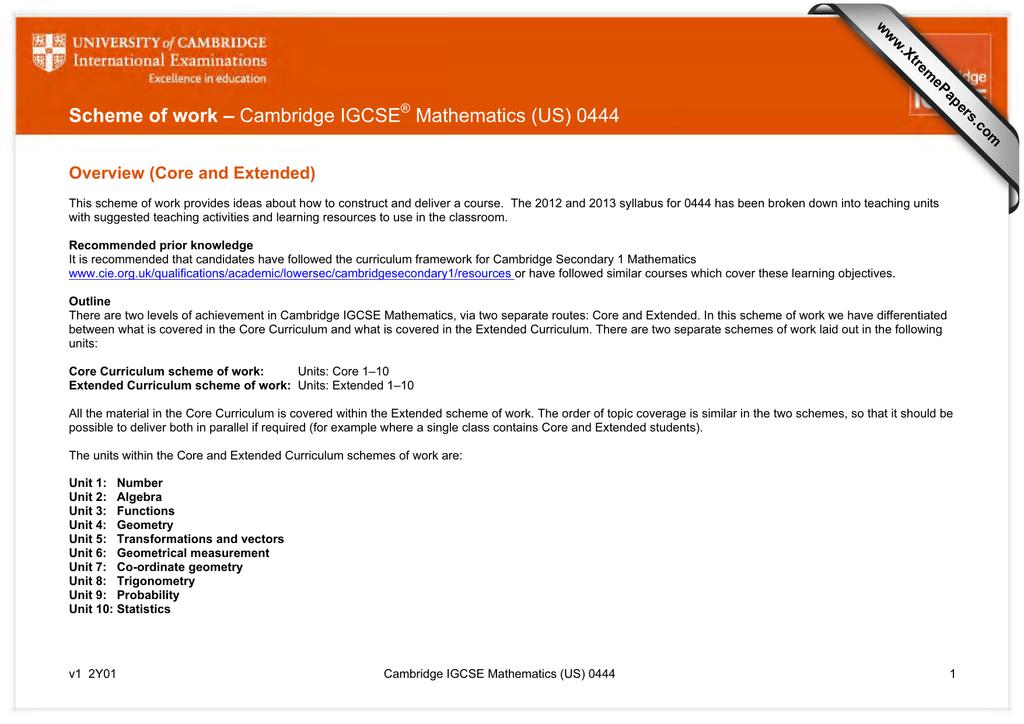 Scheme of work – Cambridge IGCSE Mathematics (US) 0444
