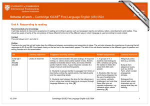Scheme of work – First Language English (US) 0524