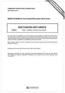 6050 FASHION AND FABRICS  MARK SCHEME for the October/November 2012 series