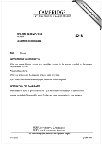 www.XtremePapers.com DIPLOMA IN COMPUTING PAPER 3