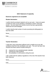 9239: Statement of originality Electronic signatures are acceptable Student declaration: