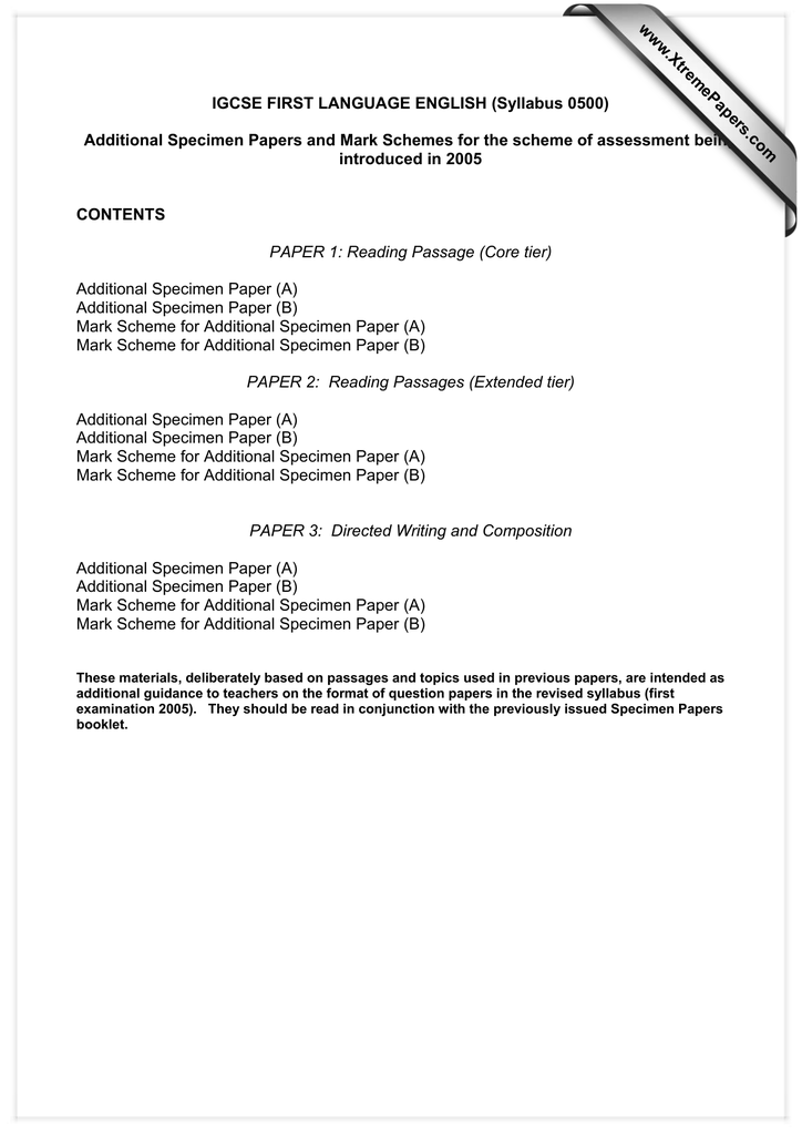 igcse english 2020 specimen paper