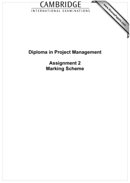 Diploma in Project Management  Assignment 2 Marking Scheme