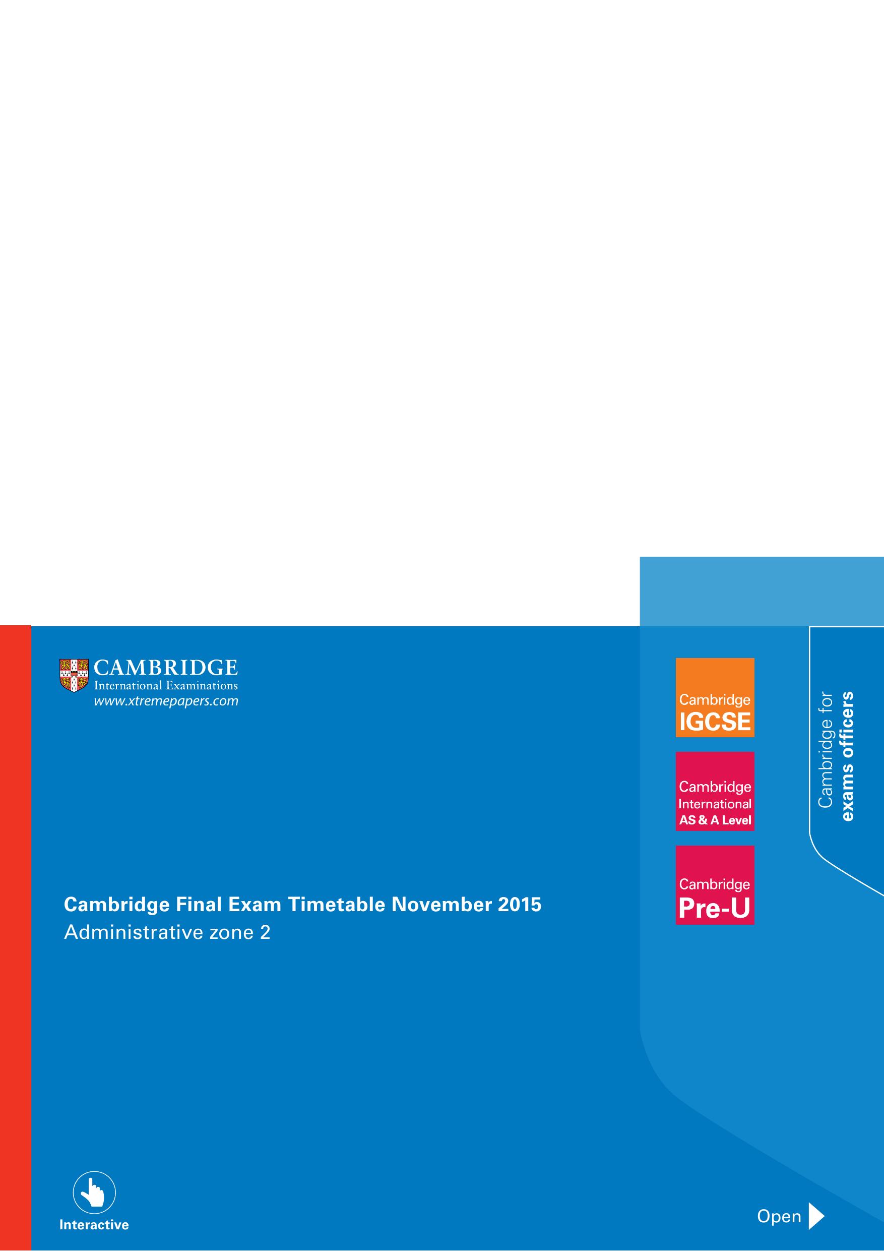 Cambridge Final Exam Timetable November 2015 Administrative
