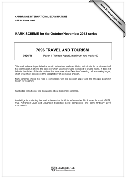 7096 TRAVEL AND TOURISM  MARK SCHEME for the October/November 2013 series