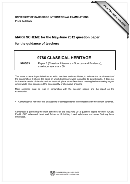 9786 CLASSICAL HERITAGE  MARK SCHEME for the May/June 2012 question paper