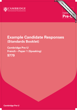 Example Candidate Responses (Standards Booklet) 9779 Cambridge Pre-U