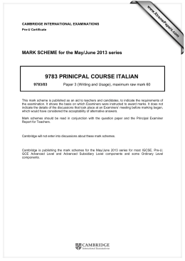 9783 PRINICPAL COURSE ITALIAN  MARK SCHEME for the May/June 2013 series