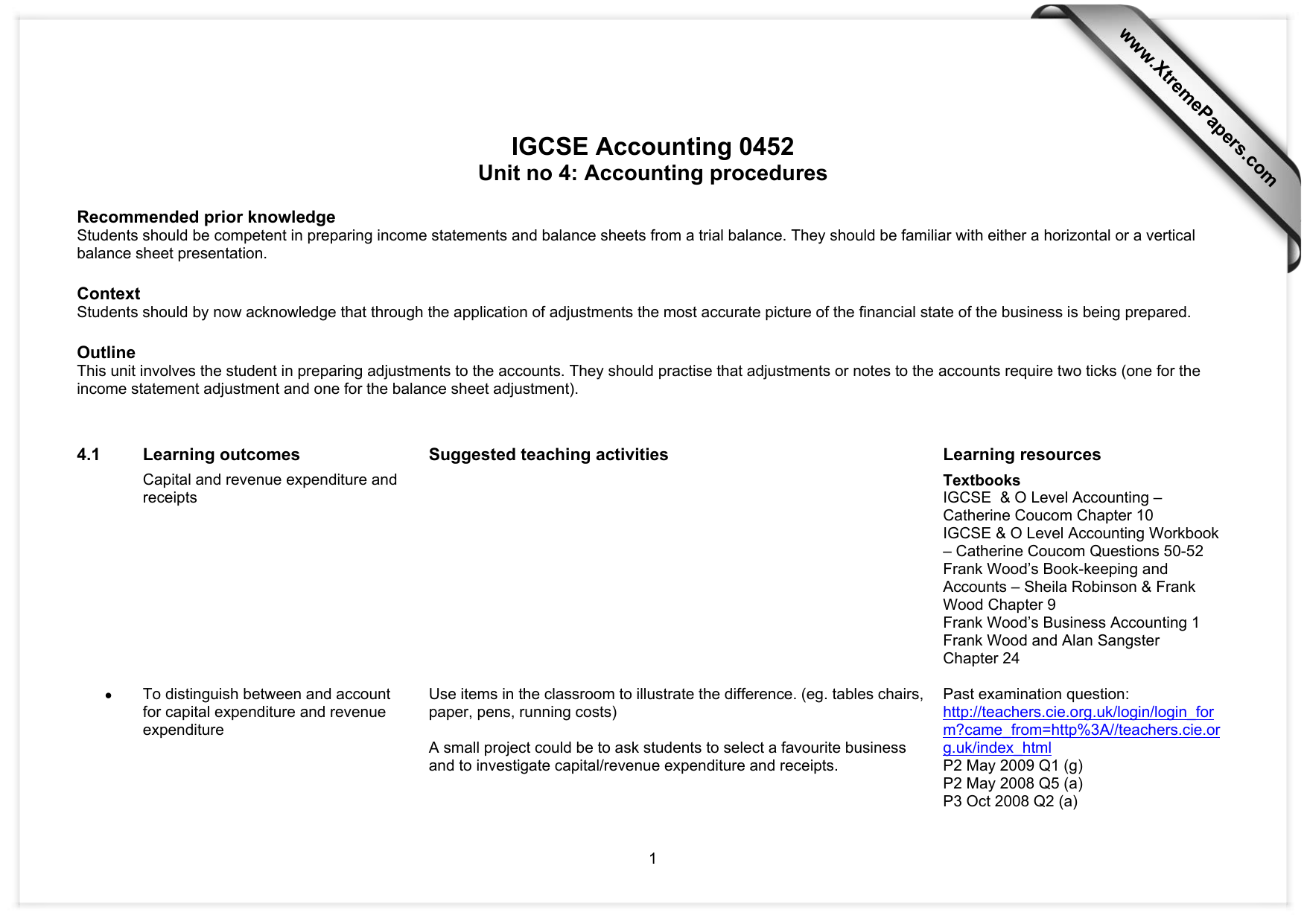 IGCSE Accounting 0452 Unit no 4: Accounting procedures www