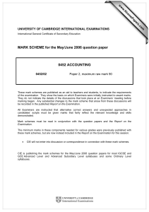 MARK SCHEME for the May/June 2006 question paper  0452 ACCOUNTING www.XtremePapers.com