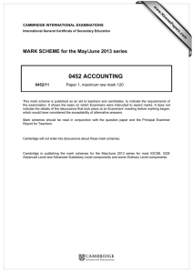 0452 ACCOUNTING  MARK SCHEME for the May/June 2013 series