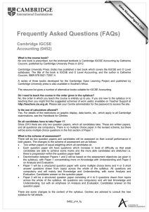 Frequently Asked Questions (FAQs)  Cambridge IGCSE Accounting (0452)