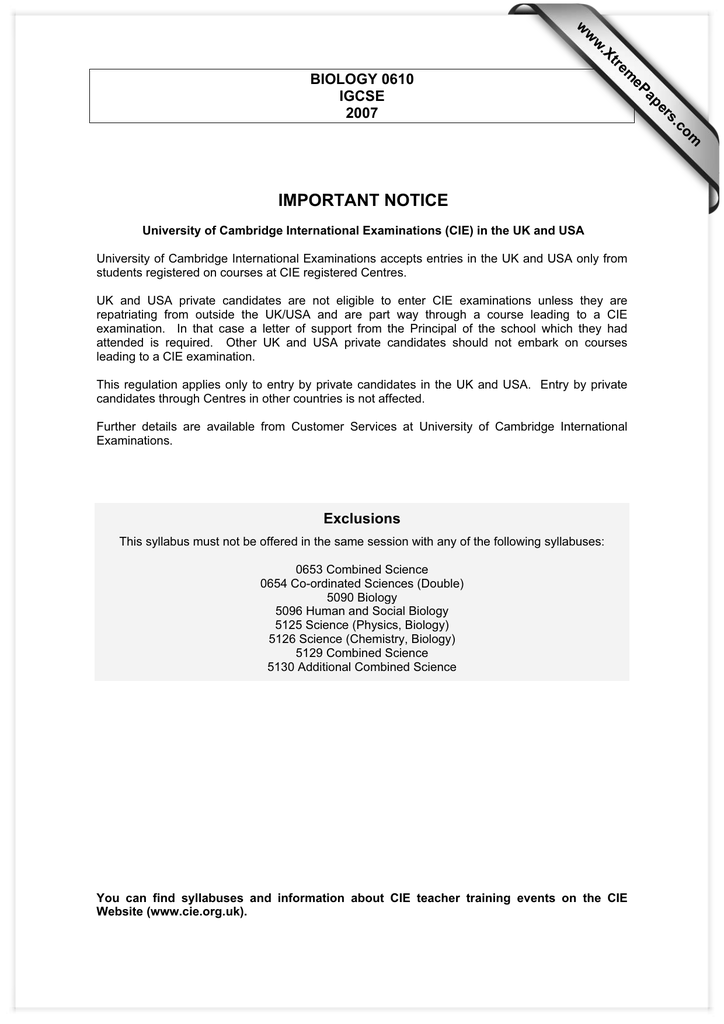 Important Notice Www Xtremepapers Com Biology 0610 Igcse