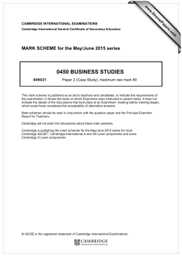 0450 BUSINESS STUDIES  MARK SCHEME for the May/June 2015 series