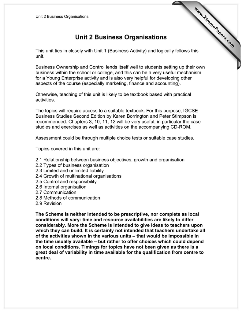 Unit 2 Business Organisations