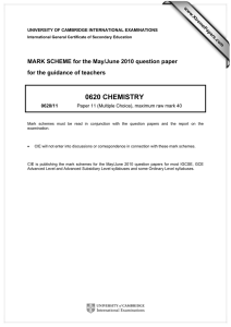 0620 CHEMISTRY  MARK SCHEME for the May/June 2010 question paper