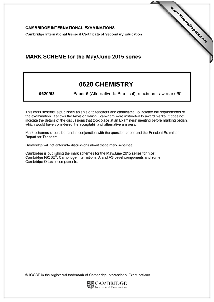 0620 CHEMISTRY MARK SCHEME for the May/June 2015 series