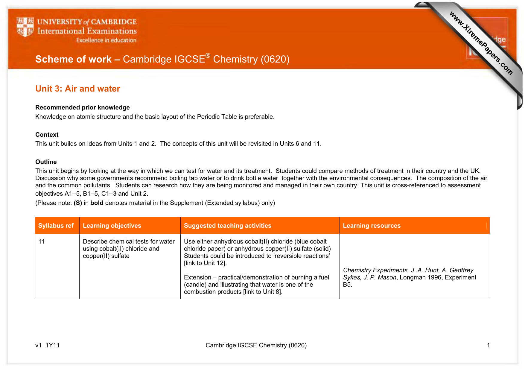 Scheme of work cambridge igcse chemistry 0620 xtremepapers urtaz Image collections