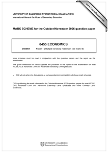 0455 ECONOMICS  MARK SCHEME for the October/November 2006 question paper