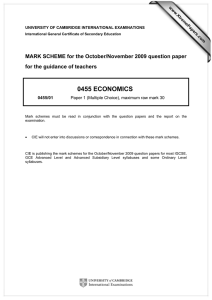 0455 ECONOMICS  MARK SCHEME for the October/November 2009 question paper