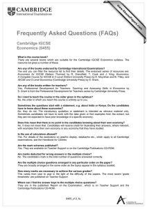 Frequently Asked Questions (FAQs)  Cambridge IGCSE Economics (0455)