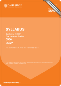 SYLLABUS 0500 0522* Cambridge IGCSE