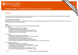 Scheme of work – Cambridge IGCSE First Language English (0500) Overview