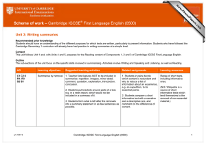 Scheme of work – Cambridge IGCSE First Language English (0500)