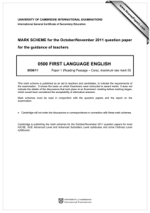 0500 FIRST LANGUAGE ENGLISH  for the guidance of teachers